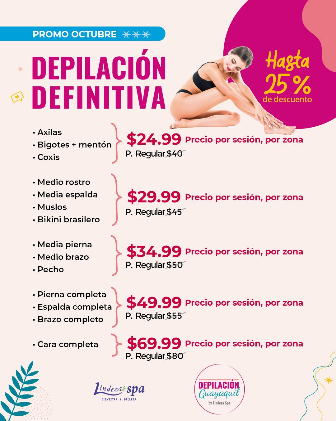 Depilación definitiva, depilación guayaquil, spa en Guayaquil, día de spa, tratamientos sin inyecciones